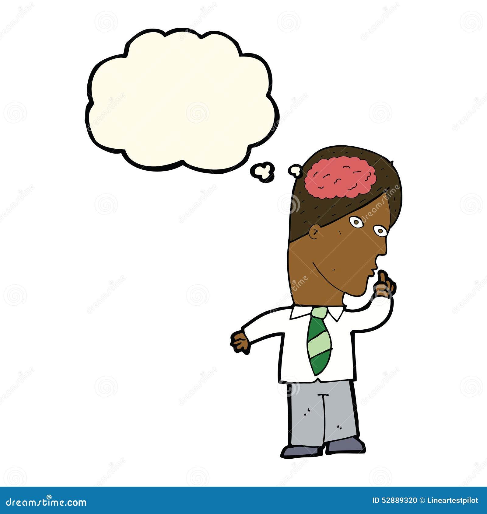 Homme d affaires de bande dessinée avec le cerveau énorme avec la bulle de pensée