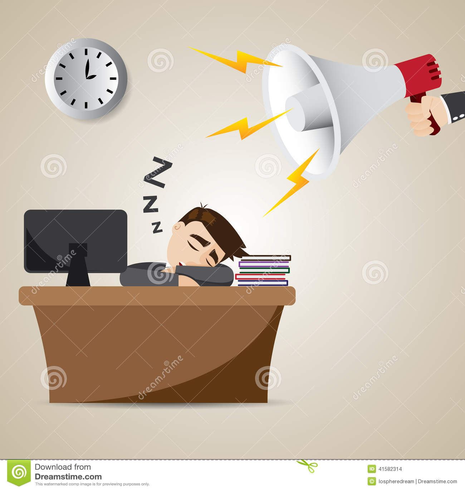 Homme d affaires de bande dessinée dormant au temps de travail avec le mégaphone