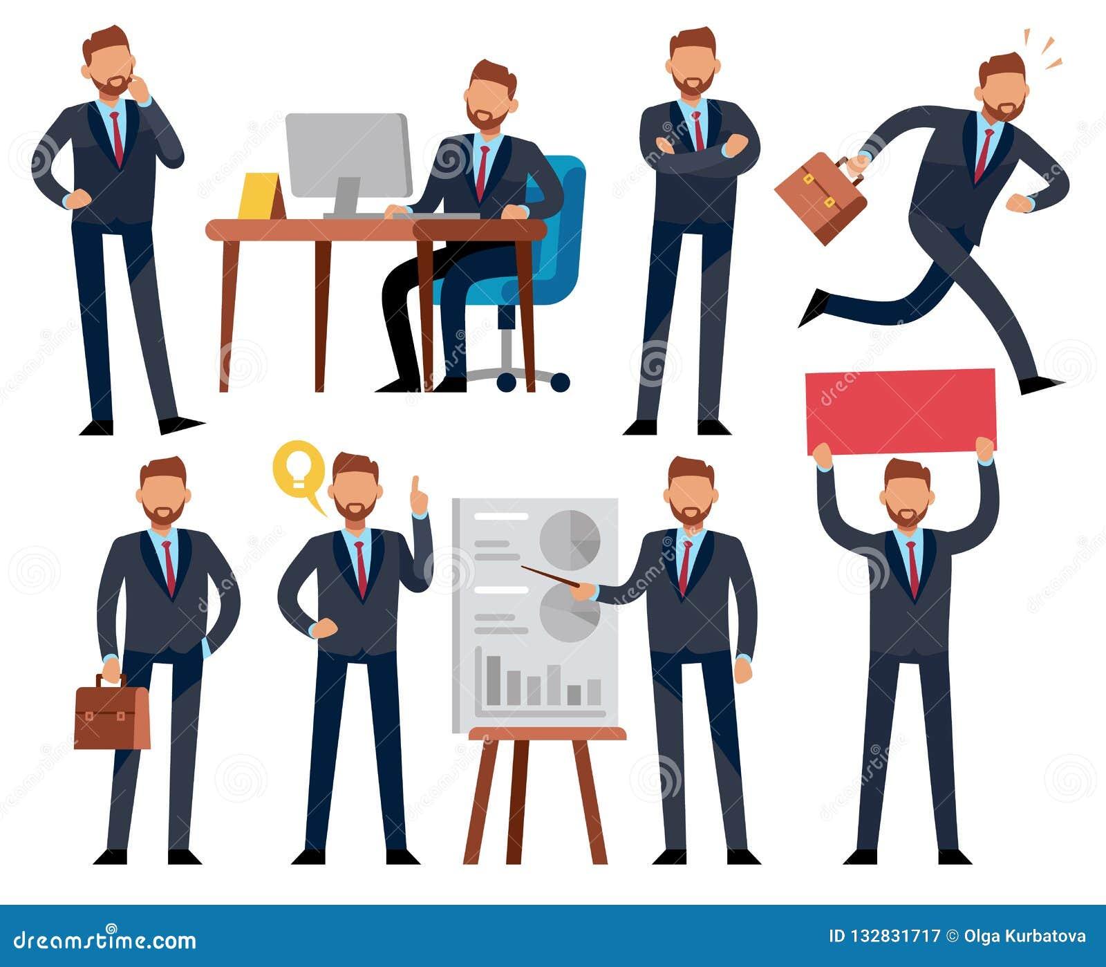 Homme d affaires de bande dessinée Homme professionnel d affaires dans différentes situations de travail de bureau Caractères de