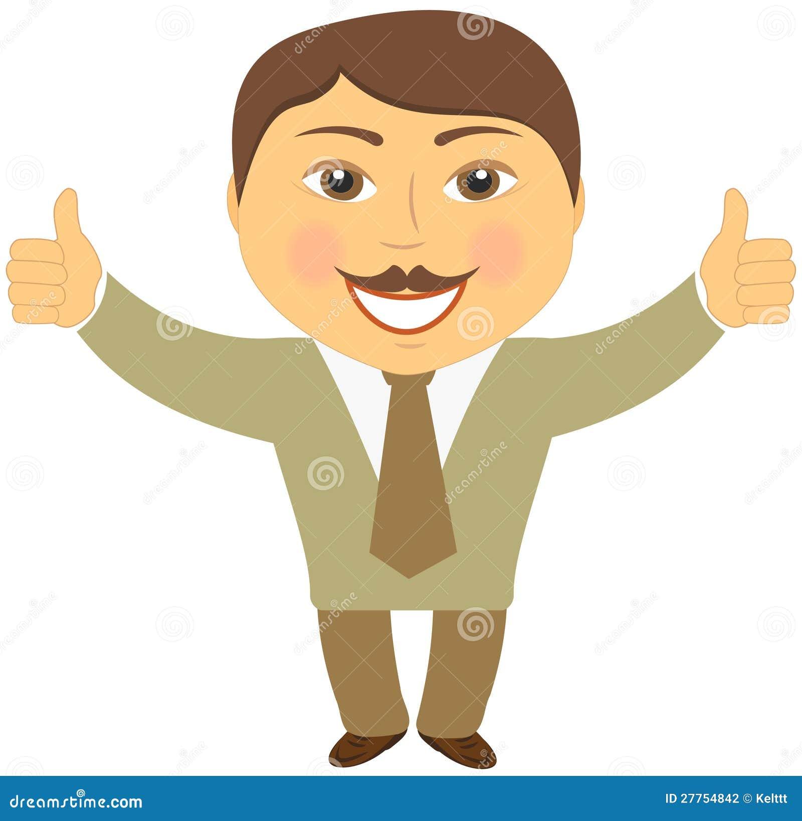 Homme d affaires de moustache affichant le pouce deux vers le haut