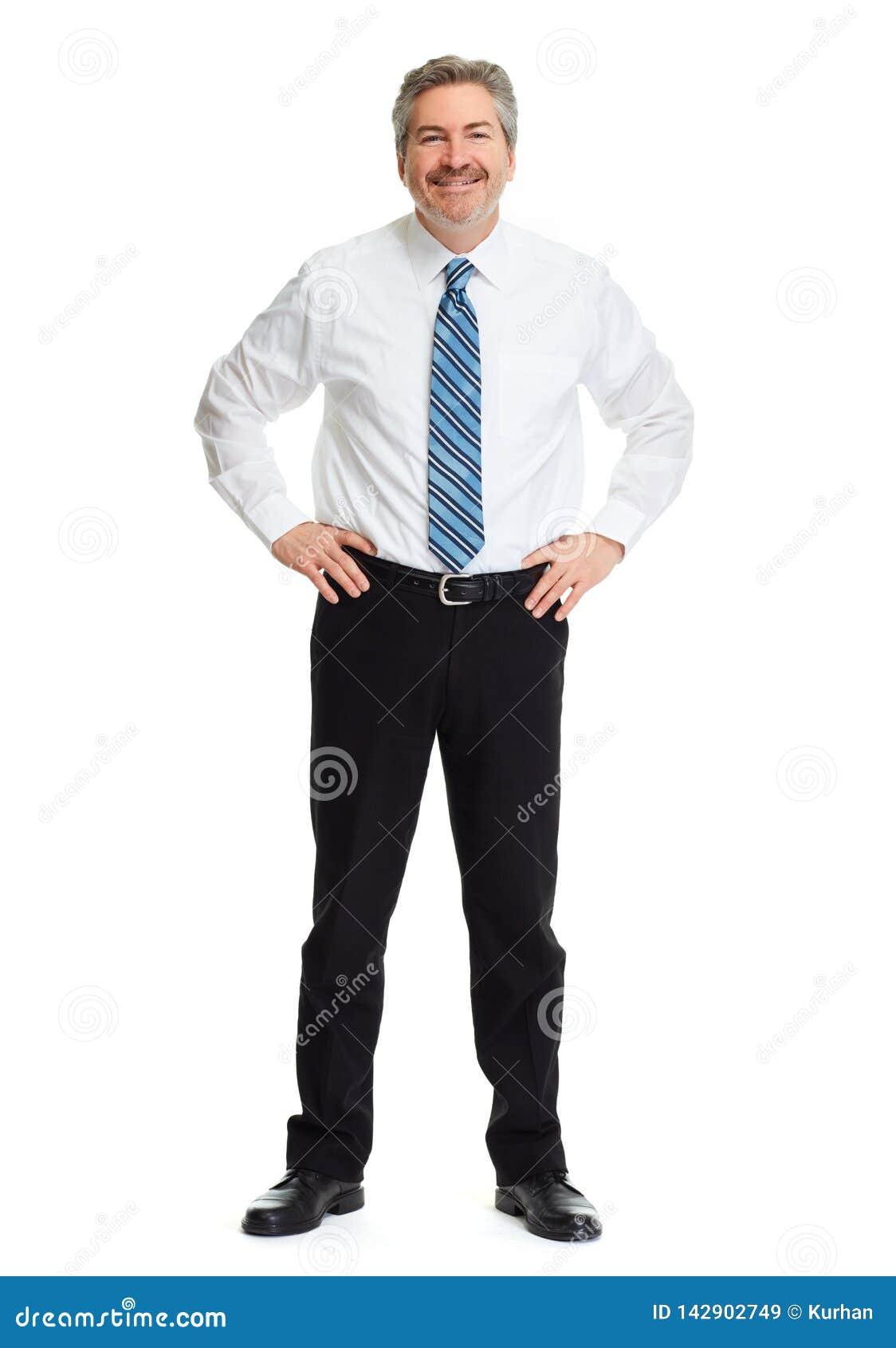 Homme d affaires de sourire sur le fond blanc