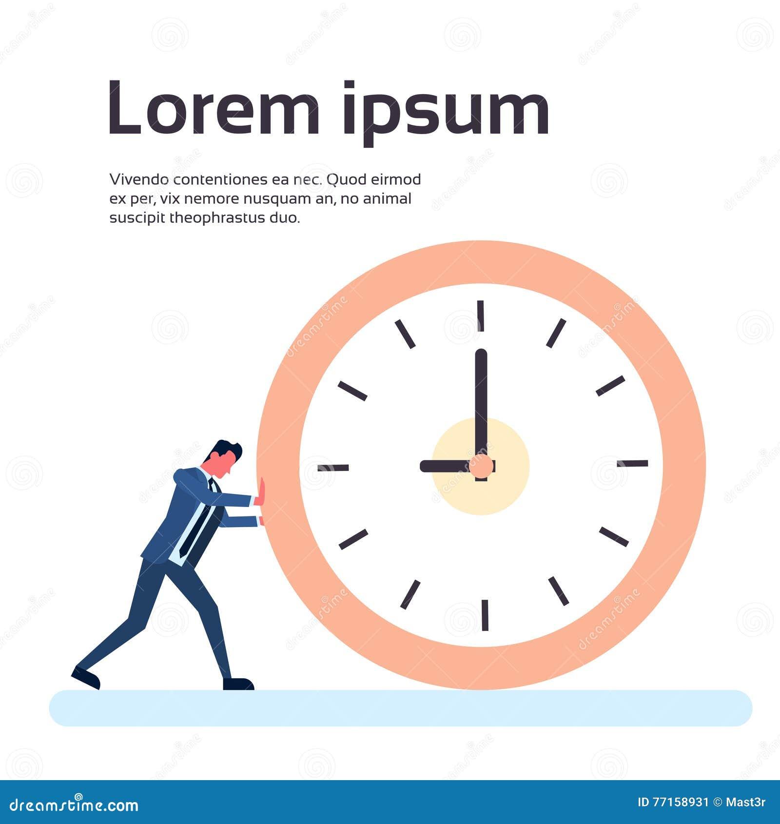 Homme d affaires Deadline Time Concept d horloge de poussée d homme d affaires