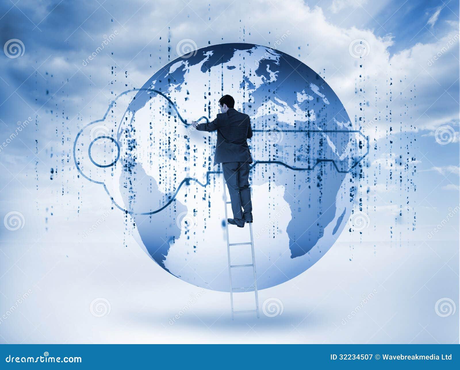 Homme d affaires dessinant une clé bleue avec la matrice et une planète