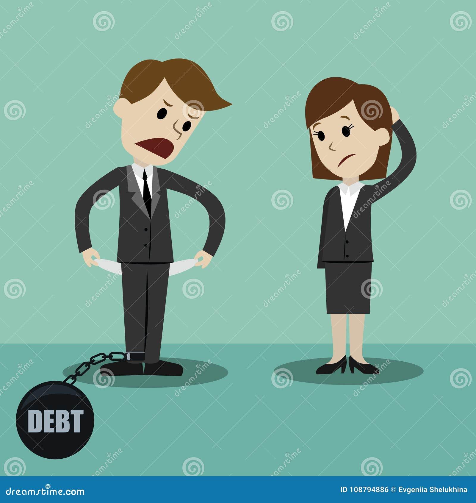 Homme d affaires et femme d affaires tenant et montrant sa poche vide, tournant sa poche à l envers, aucun argent Faillite