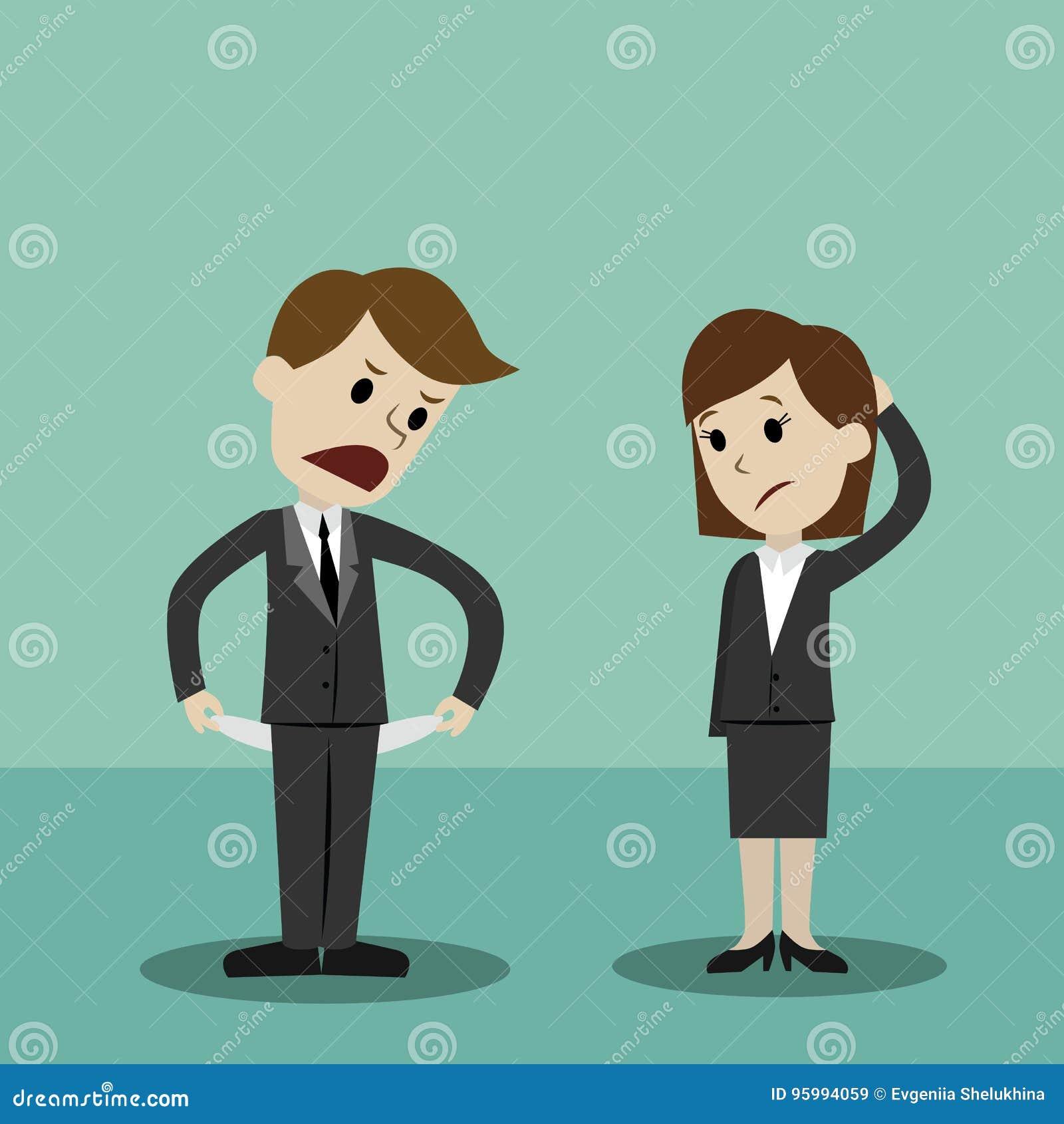 Homme d affaires et femmes d affaires tenant et montrant sa poche vide, tournant sa poche à l envers, aucun argent