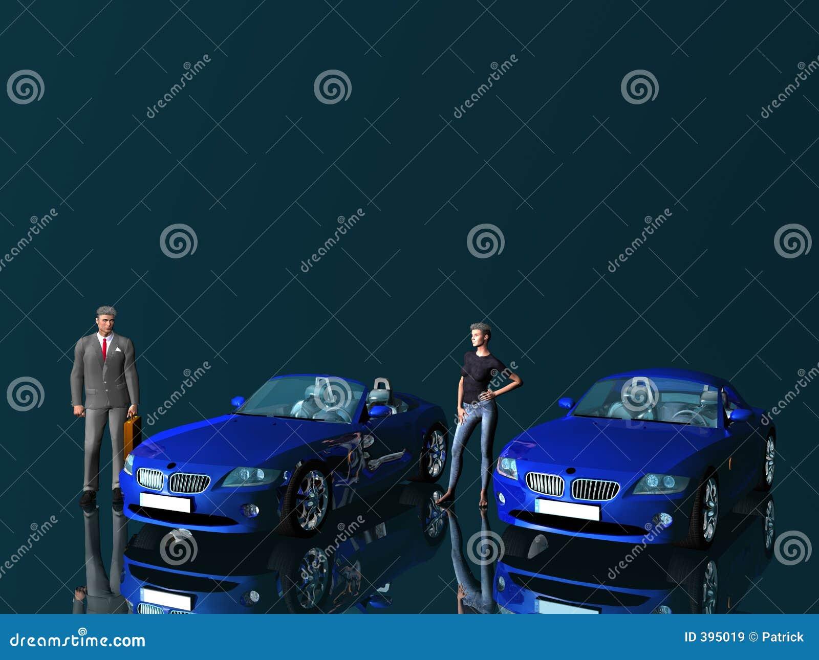 Homme d affaires et modèle avec des véhicules.