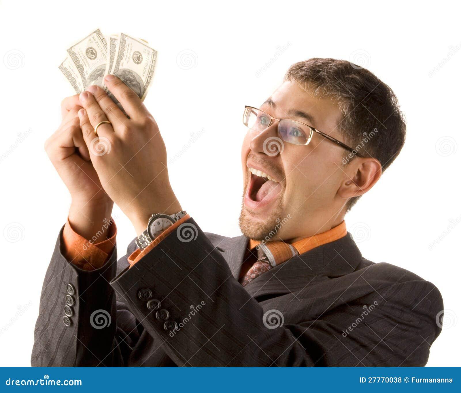 Homme d affaires Excited avec des dollars