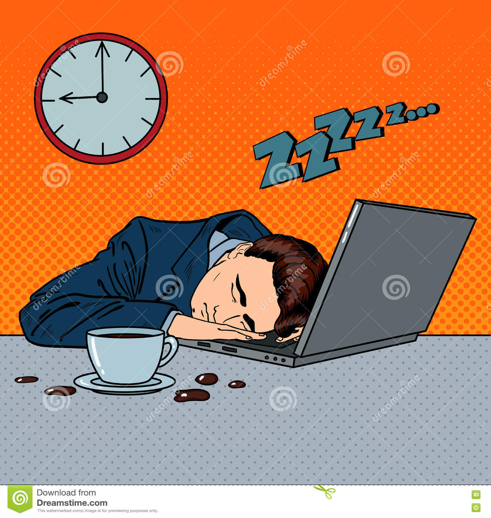 Homme d affaires fatigué Sleeping sur un ordinateur portable dans le bureau Art de bruit