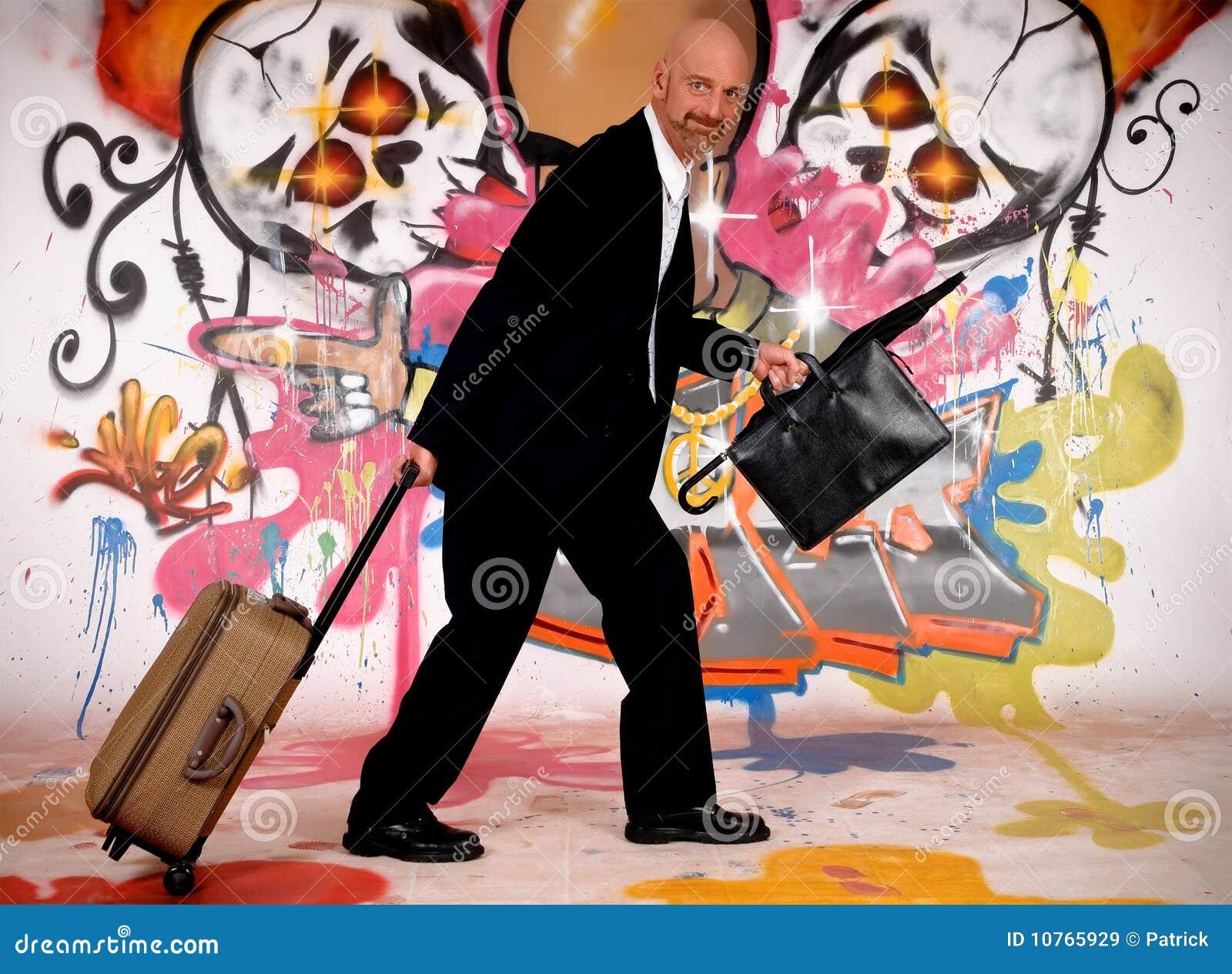 Homme d affaires, graffiti urbain
