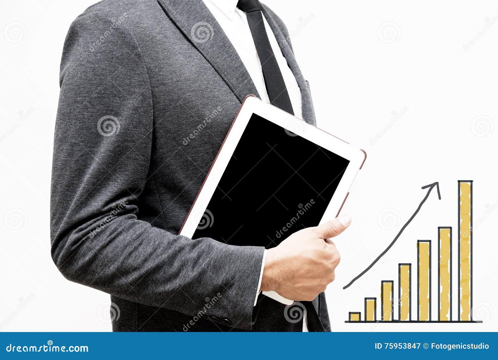 Homme d affaires montrant la main et le doigt avec des affaires d écriture de main