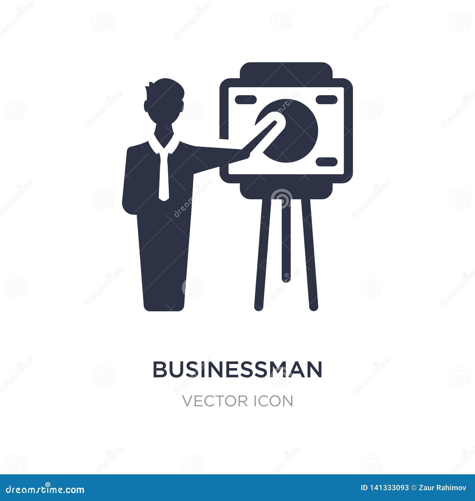 Homme d affaires montrant une icône de croquis de projet sur le fond blanc Illustration simple d élément de concept d affaires
