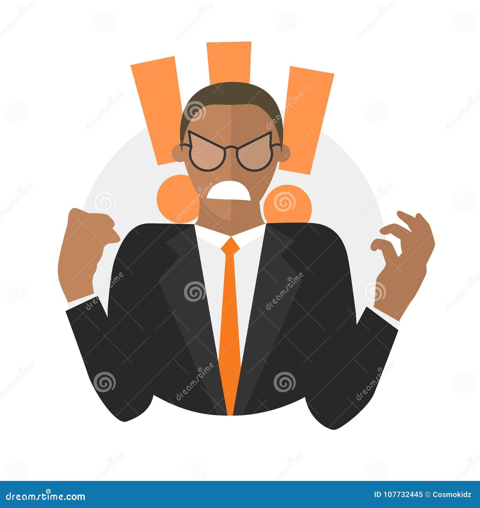 Homme d affaires noir dans la rage Icône plate de conception