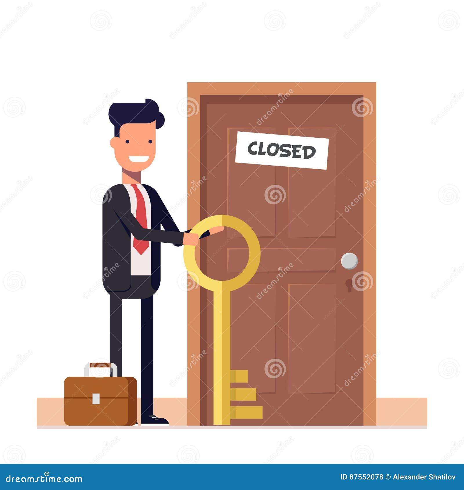 Homme d affaires ou directeur avec plus de clés se tenant près de la porte fermée Le concept de résoudre le problème caractère pl