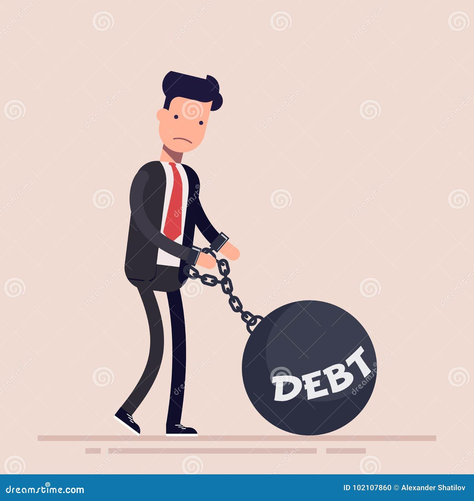 Homme d affaires ou directeur enchaîné à un poids avec une dette d inscription Concept de la faillite Illustration de vecteur dan