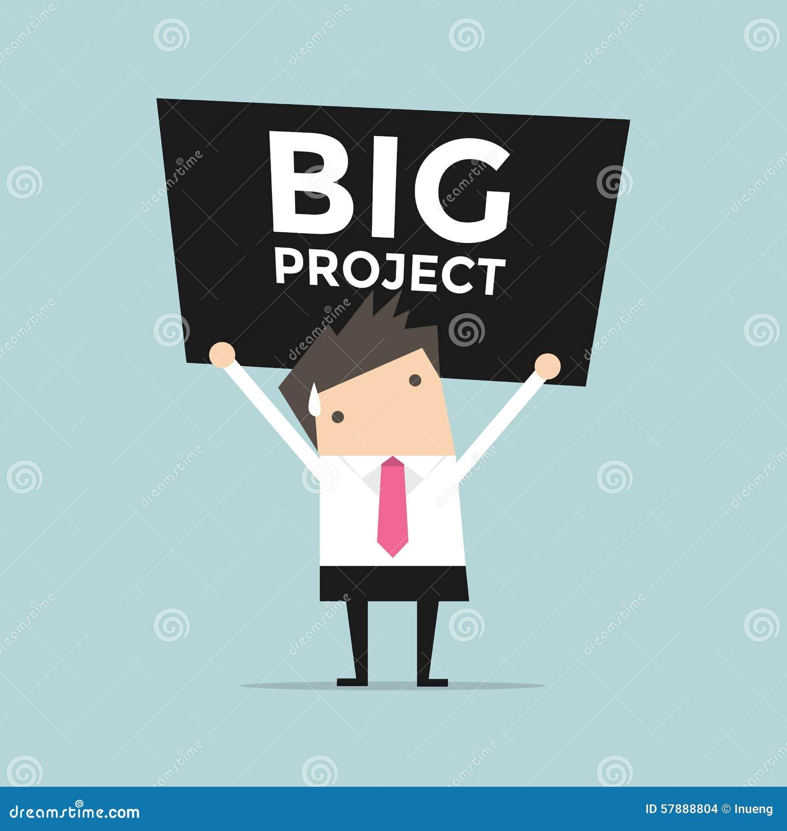 Homme D U0026 39 Affaires Portant Un Grand Projet Lourd