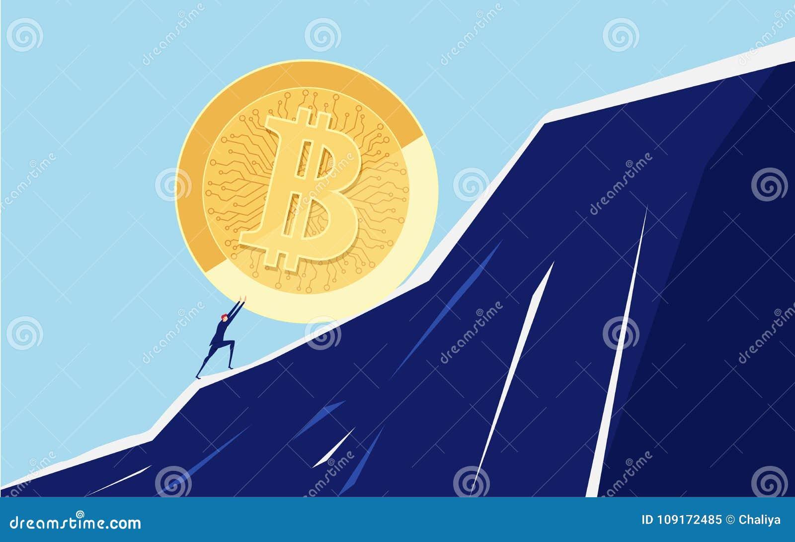 Homme d affaires poussant un grand Bitcoin vers le haut de la colline Difficultés de crise de problème commercial et concept de c