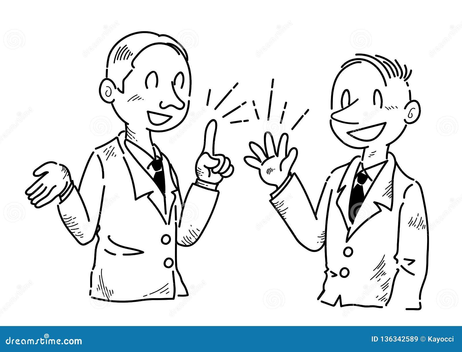 Homme d affaires qui a des avis parlants d amusement - dessin au trait