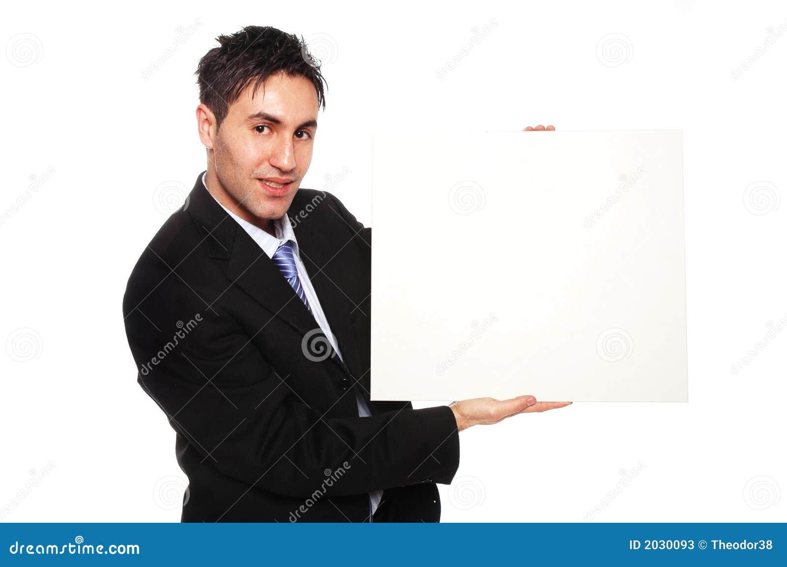 Homme d affaires réussi et carton blanc