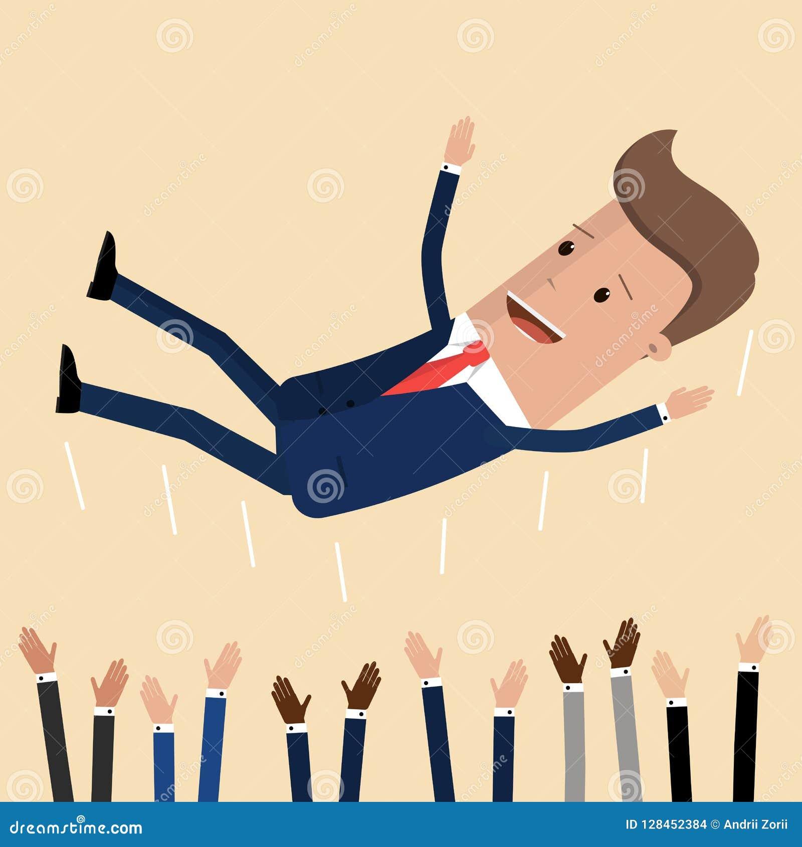Homme d affaires réussi jetant par son travail d équipe ou collègue Le concept de sentiment et d émotion dans le succès et l équi