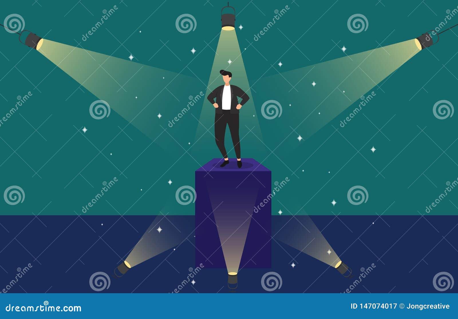Homme d affaires r?ussi Confident sur le podium sous l illustration de concept d affaires de projecteur