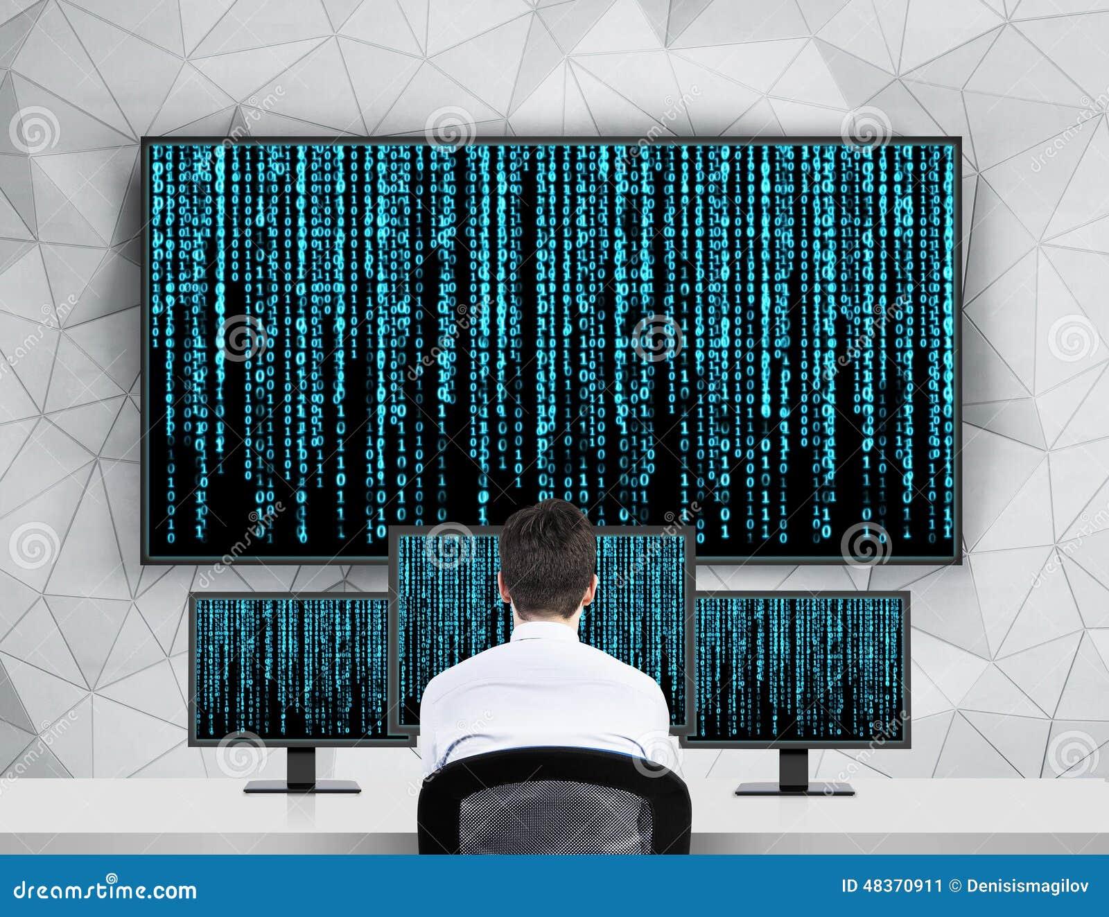 Homme d affaires regardant la matrice