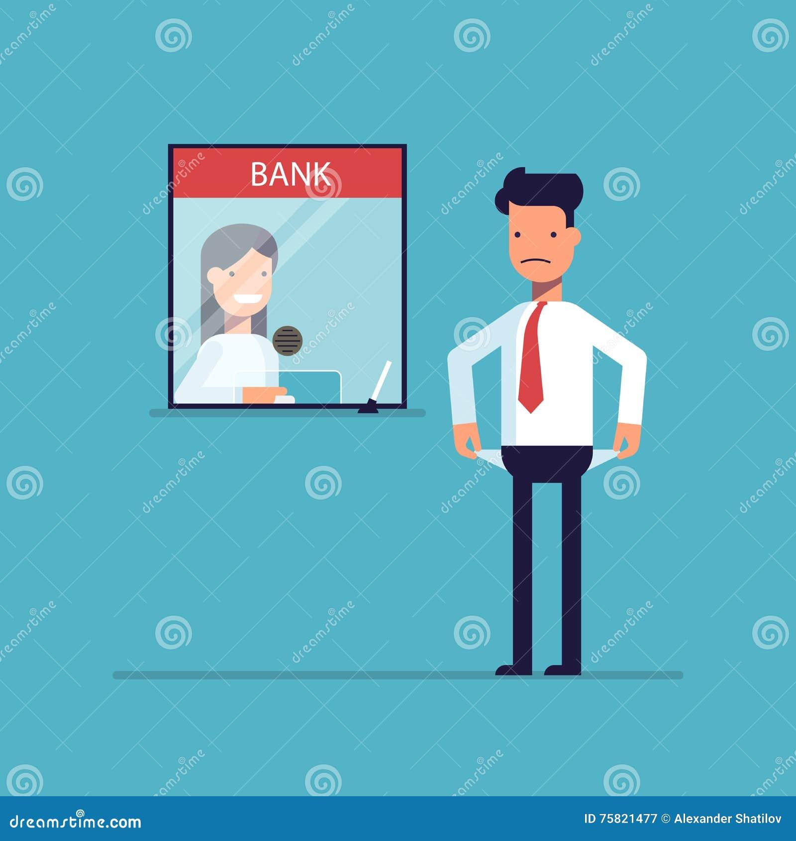 Homme d affaires sans argent rien à payer le prêt, la dette vers la banque