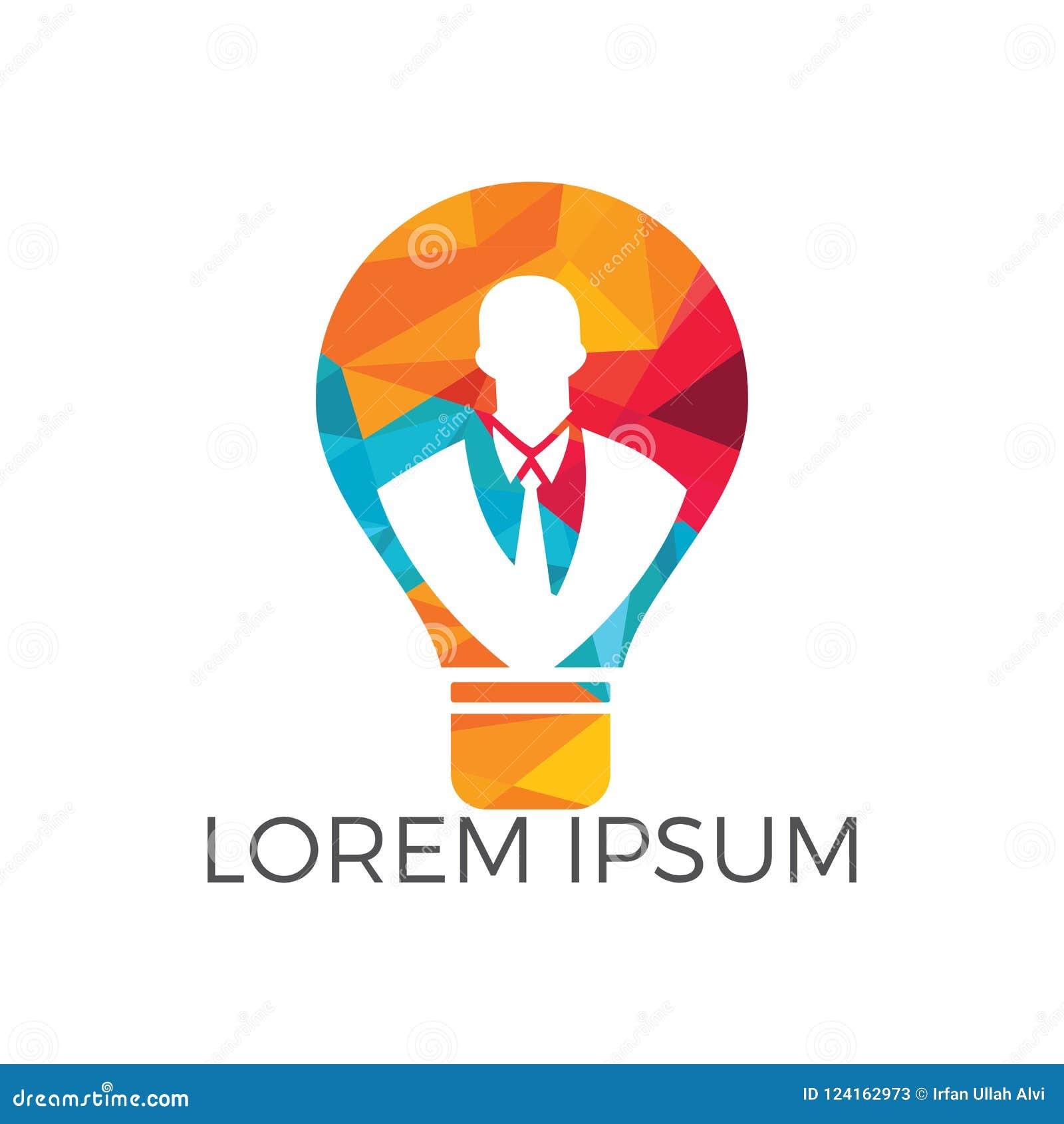 Homme d affaires se tenant à l intérieur d une conception de logo d ampoule