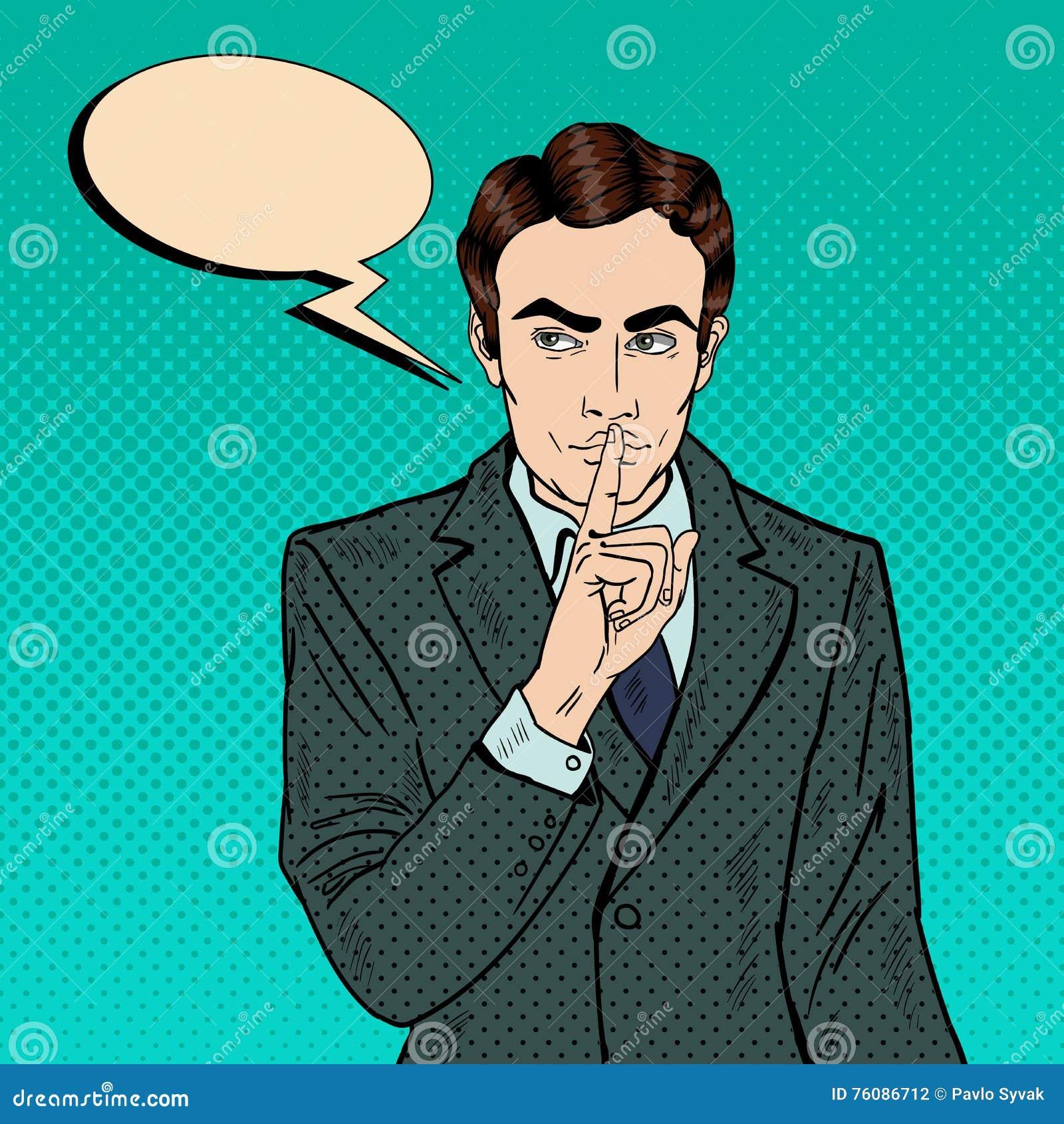 Homme d affaires Silent Quite Gesture avec le doigt Secret de mystère Art de bruit