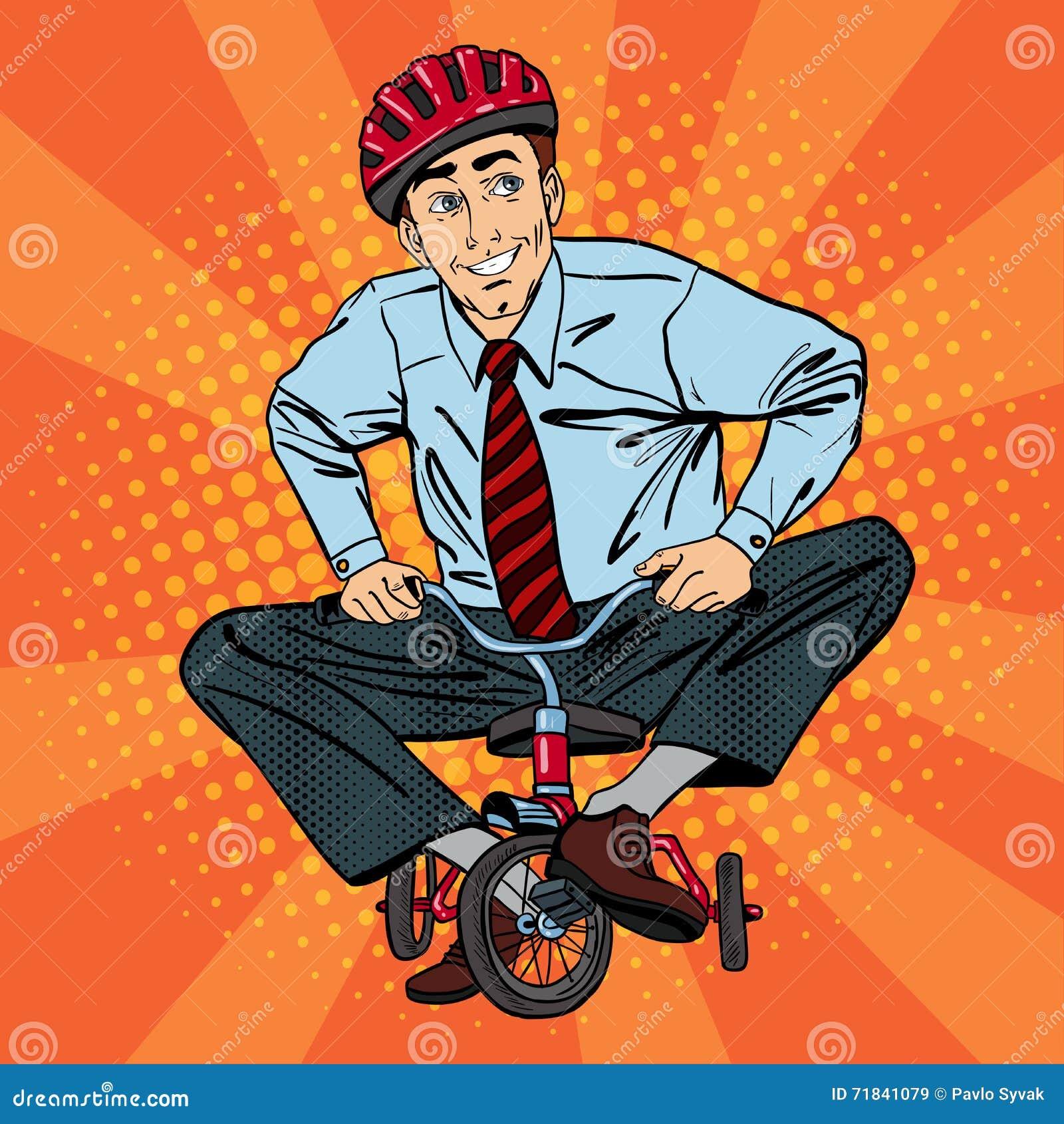 Homme d affaires sur la bicyclette d enfants Homme d affaires Riding une petite bicyclette