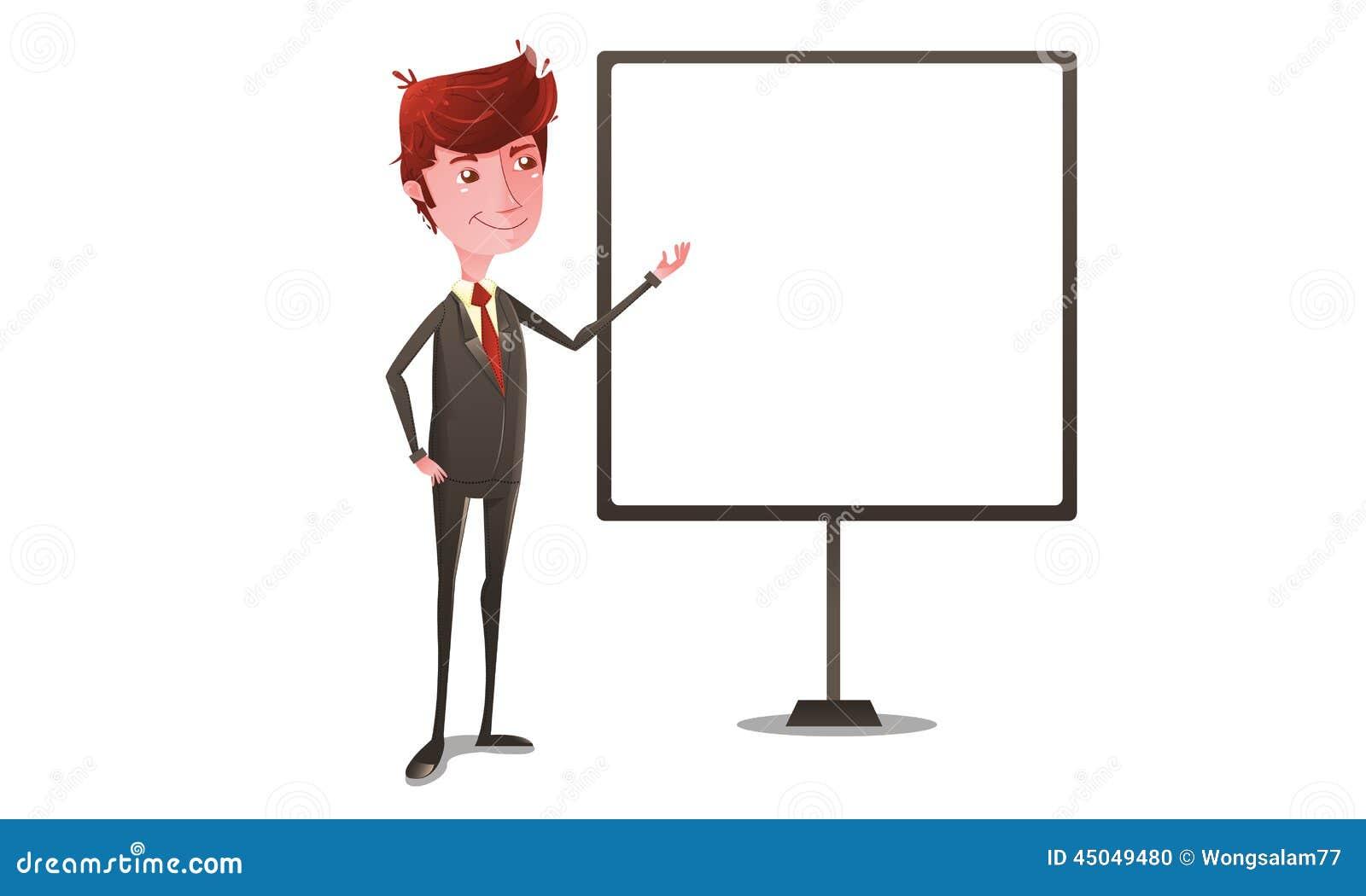 Homme D'affaires Sur La Présentation Avec Le Tableau Blanc Illustration de Vecteur - Image: 45049480