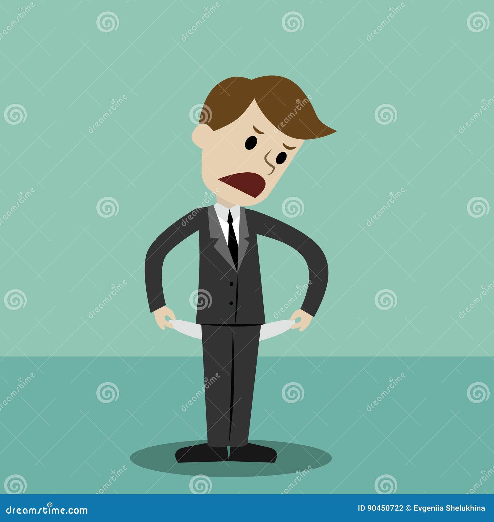 Homme d affaires tenant et montrant sa poche vide, tournant sa poche à l envers, aucun argent Faillite