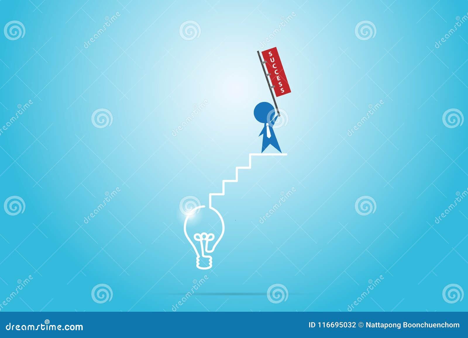 Homme d affaires tenant le drapeau de succès sur l escalier du concept d ampoule, de succès et d affaires