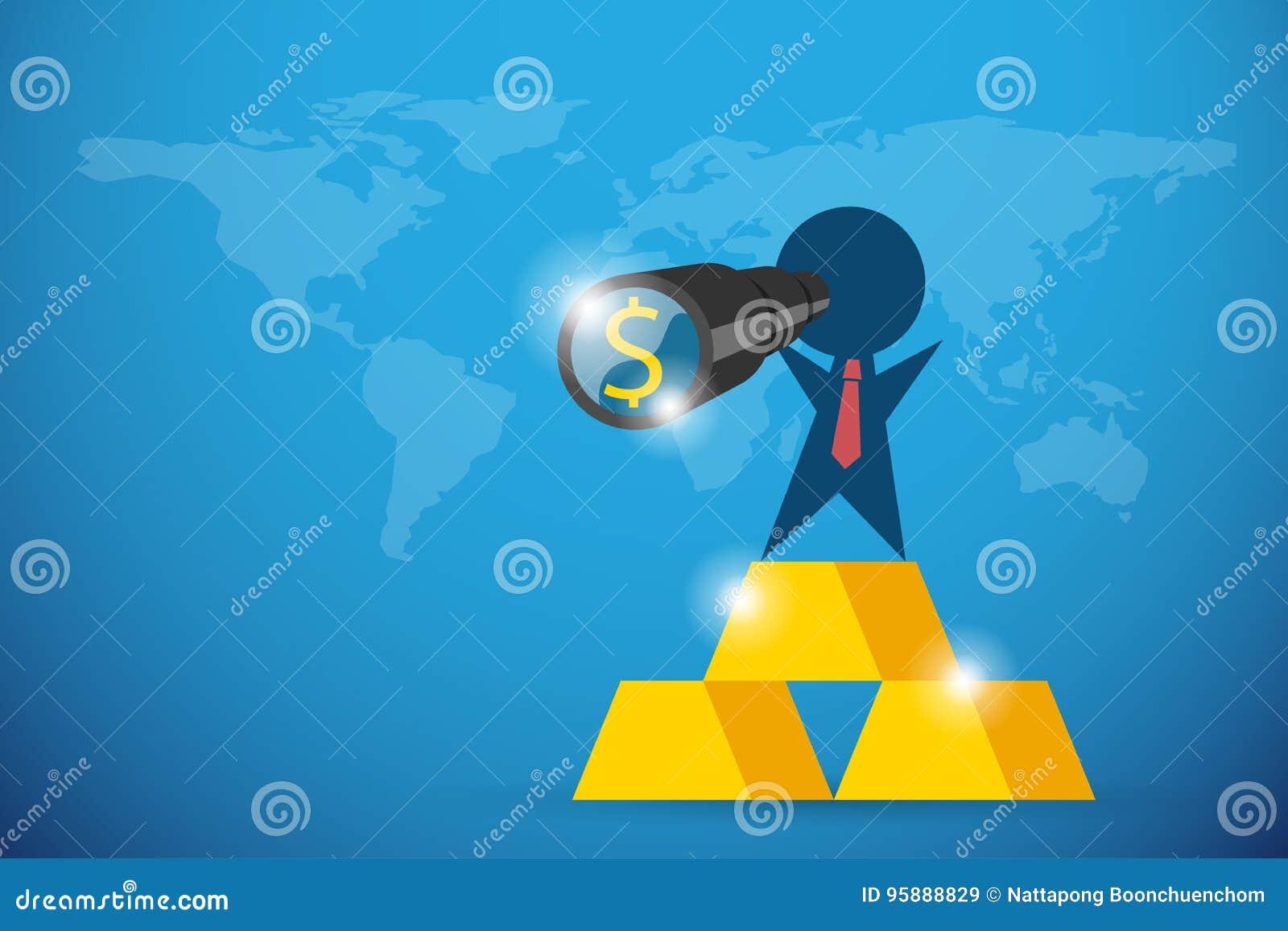 Homme d affaires tenant le télescope avec le symbole du dollar et le support sur des barres d or, la vision et le concept d affai