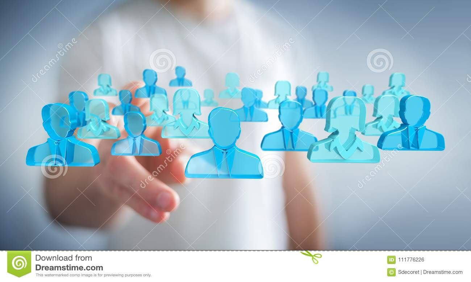 Homme d affaires tenant 3D rendant le groupe de personnes bleues