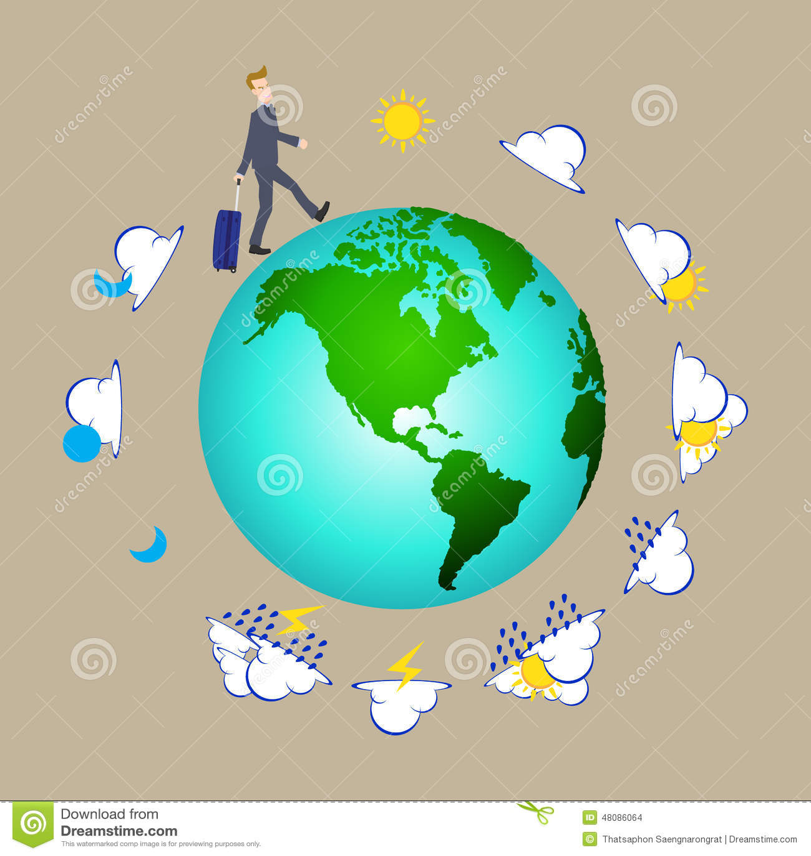 Homme d 39 affaires tirant la valise de sac de voyage autour du monde avec l - Meubles autour du monde ...