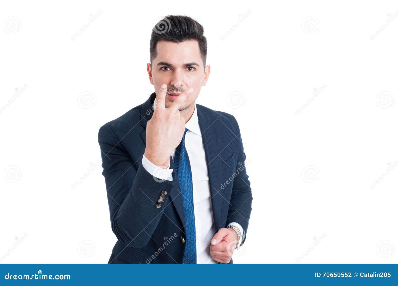 Homme d affaires transformant le regard en mes yeux et geste d attention de salaire
