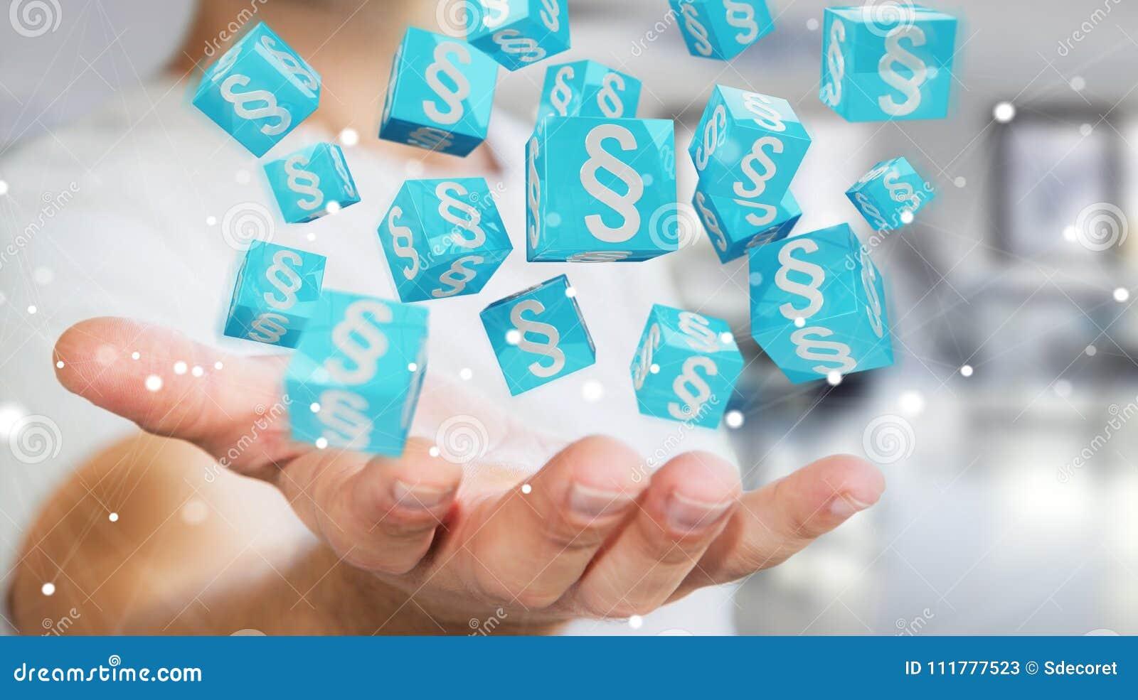 Homme d affaires utilisant des cubes en loi du rendu 3D