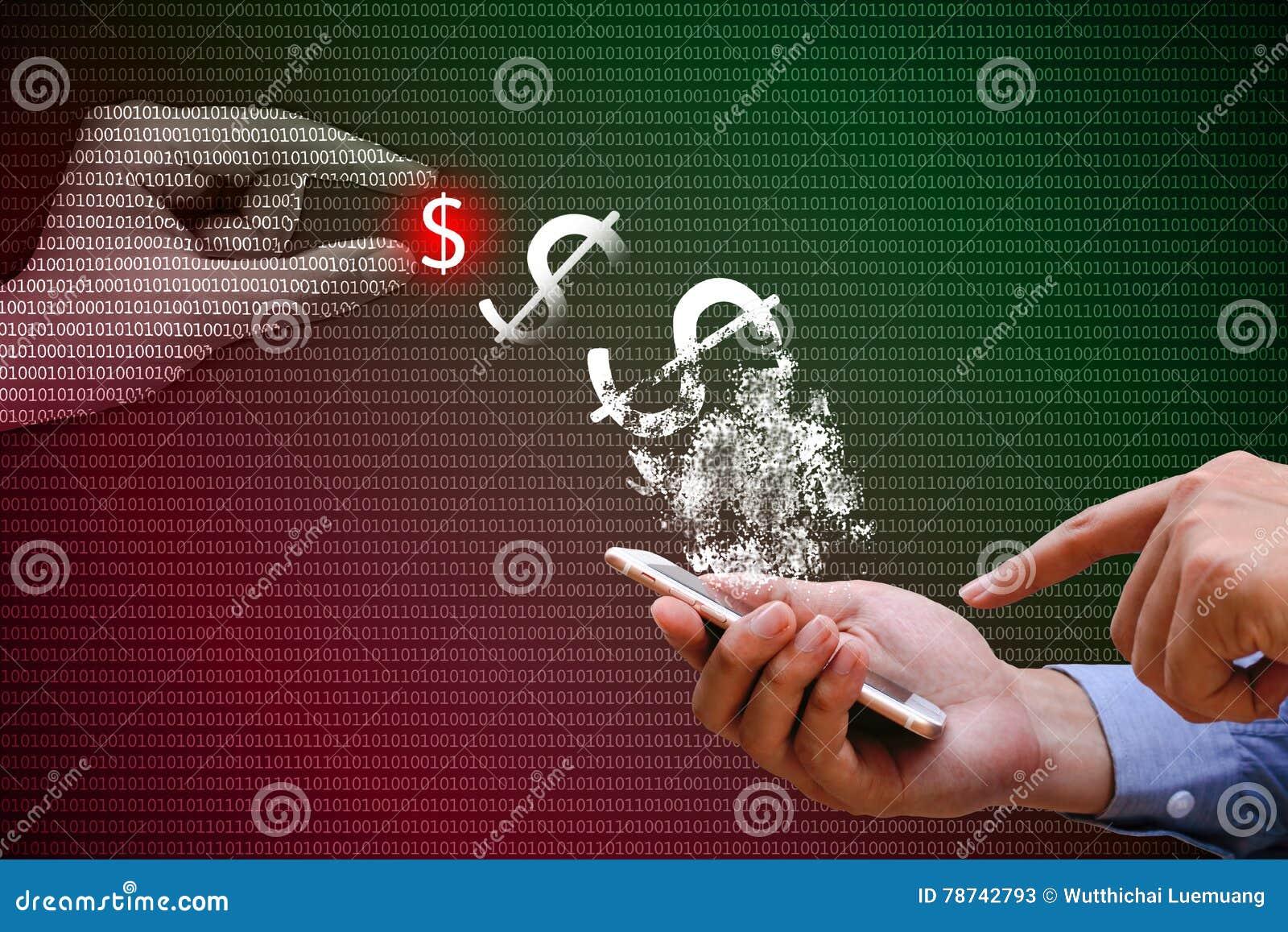 Homme d affaires utilisant le téléphone intelligent avec le transfert de paiement sur le réseau,