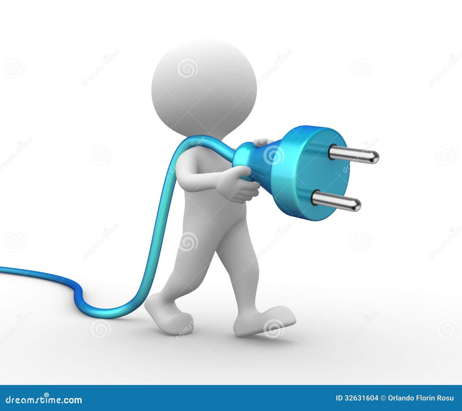 Homme 3d avec une prise lectrique - Refaire une prise electrique ...