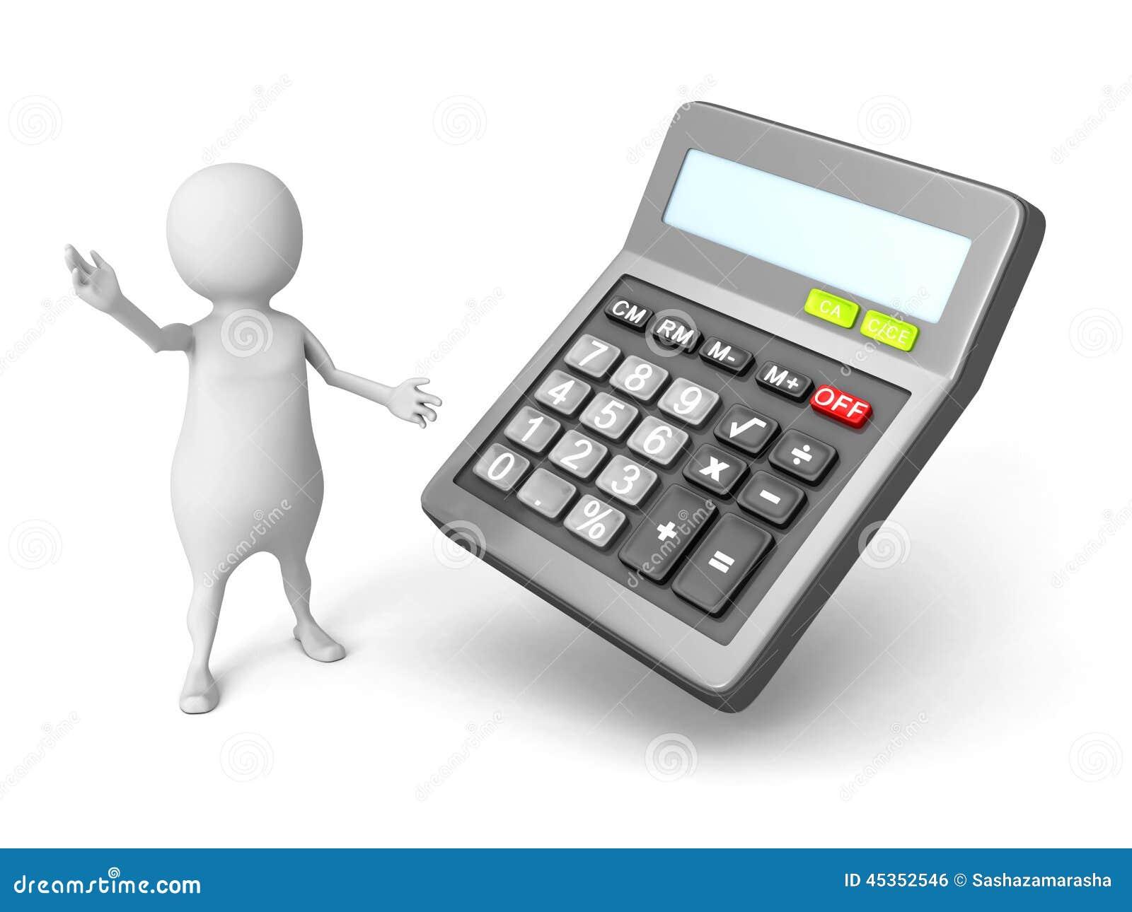 Homme 3d blanc avec la calculatrice de bureau