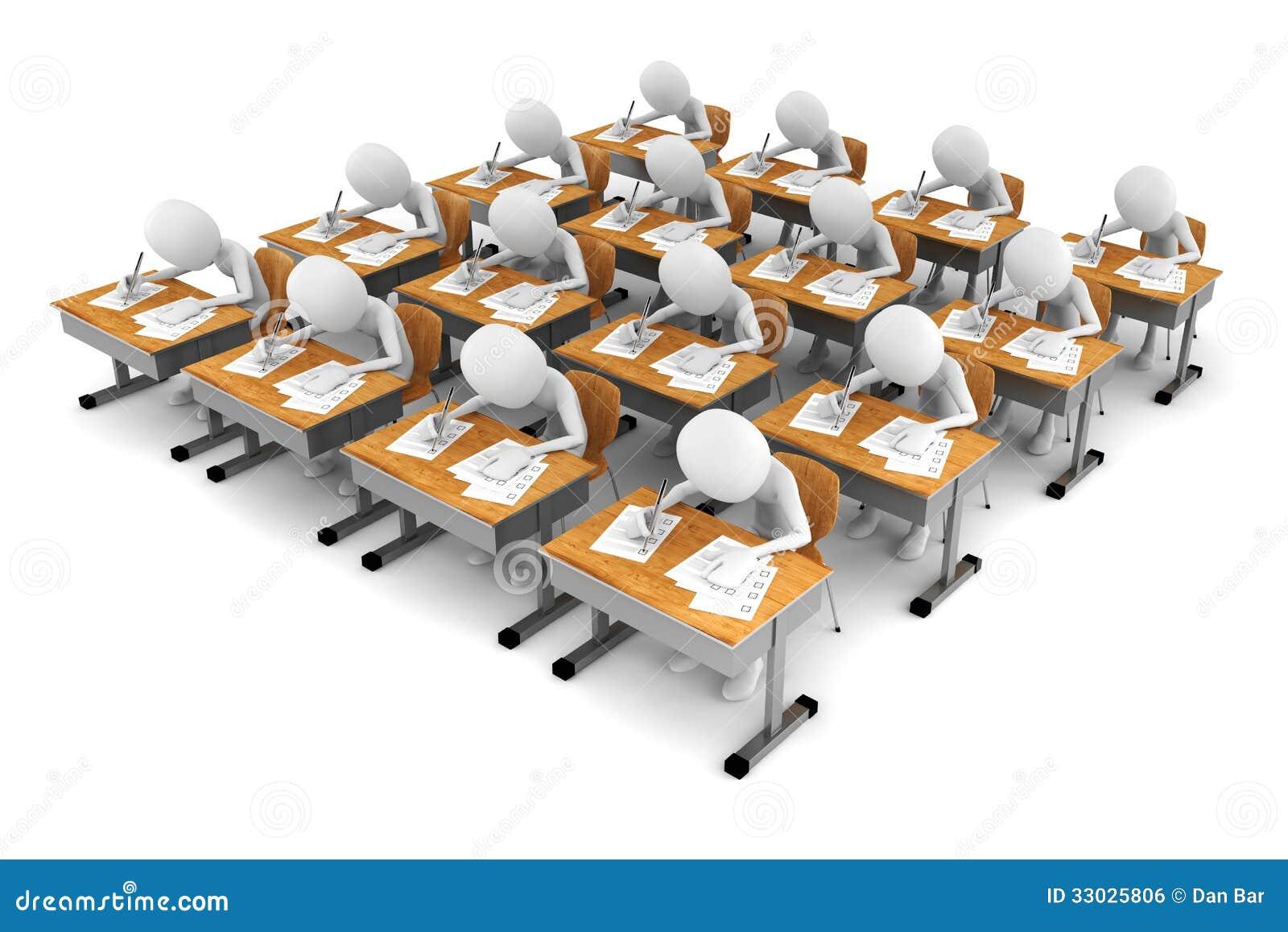 Homme 3d Dans La Salle De Classe, Essai Du0026#39;examen Image libre de droits ...