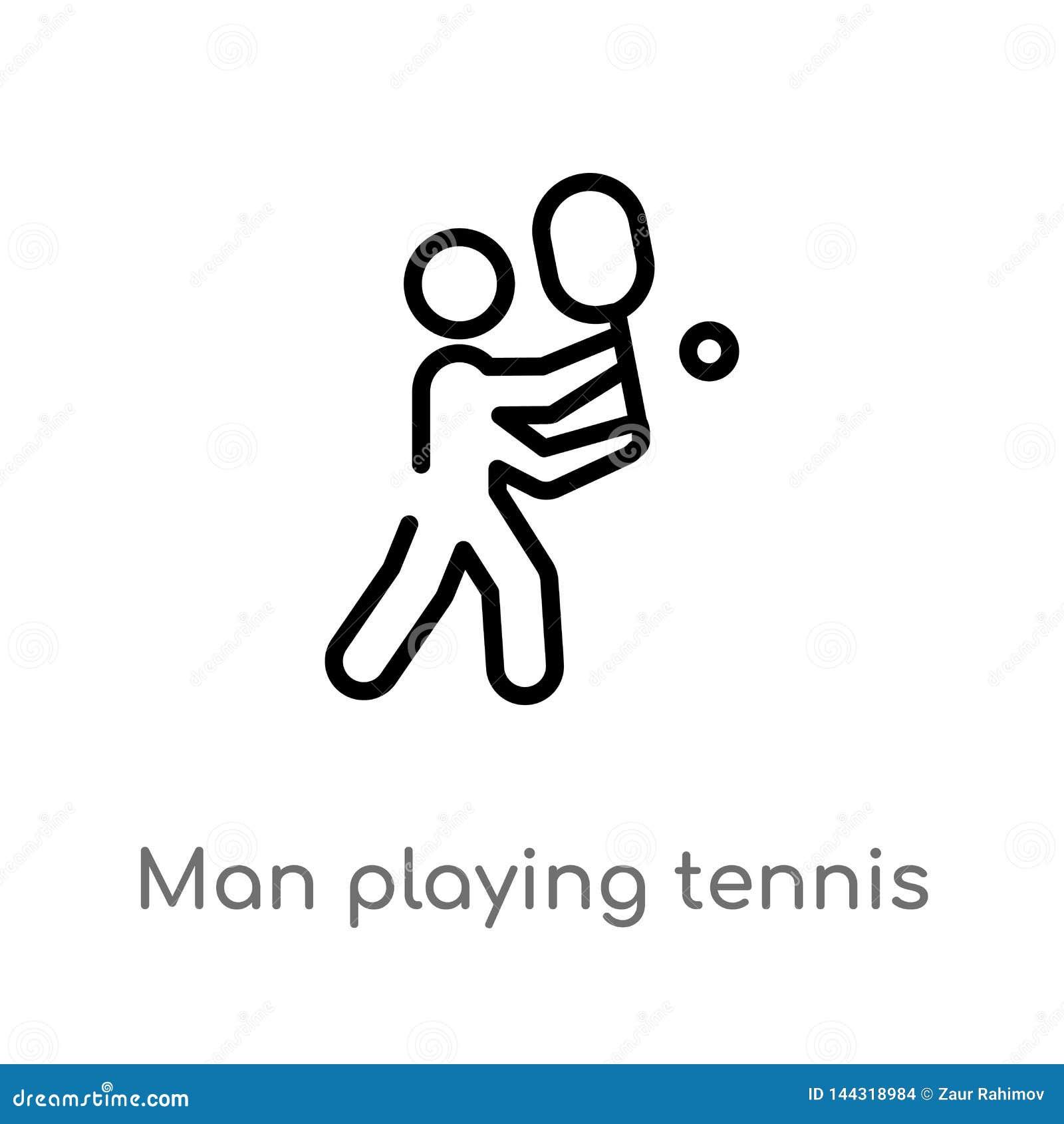 Homme d ensemble jouant l icône de vecteur de tennis ligne simple noire d isolement illustration d élément de concept de sports V