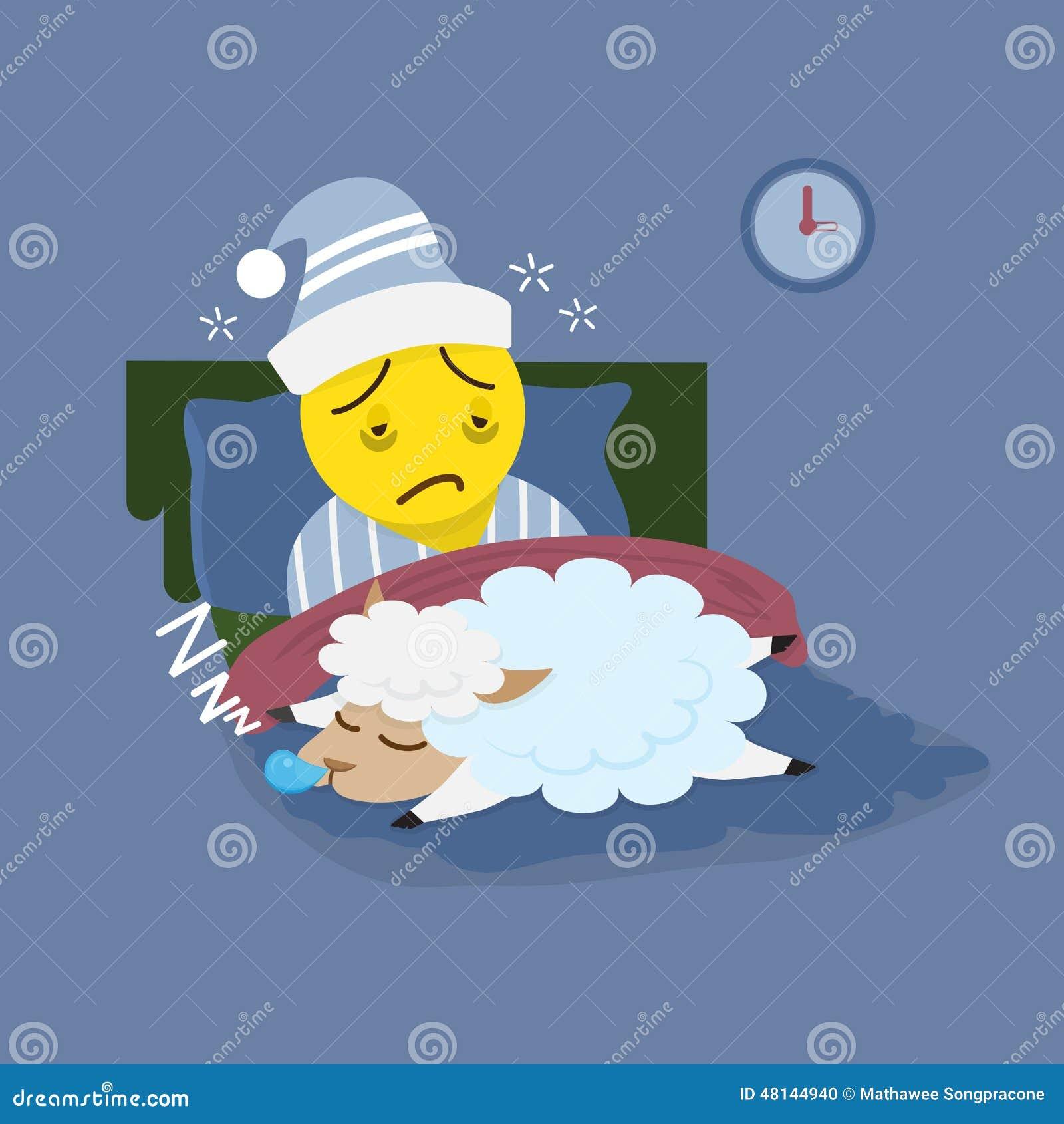 homme d 39 insomnie avec des moutons de sommeil illustration de vecteur illustration du somnolent. Black Bedroom Furniture Sets. Home Design Ideas