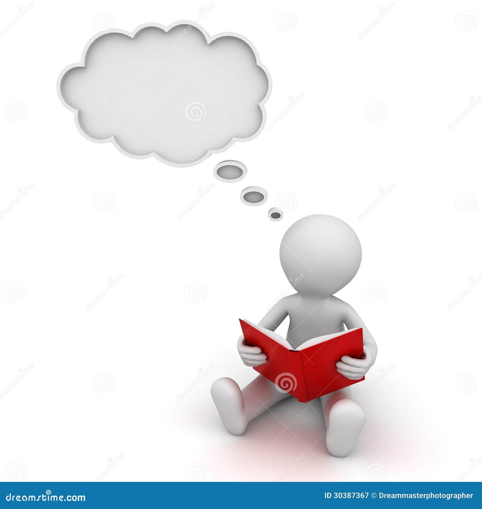 homme 3d lisant un livre et pensant avec une bulle de student thinking clipart black and white student thinking clipart