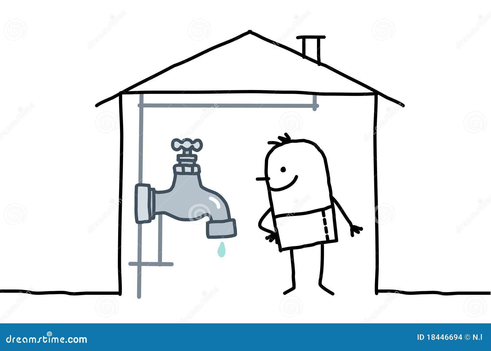 Homme dans la maison et la tuyauterie