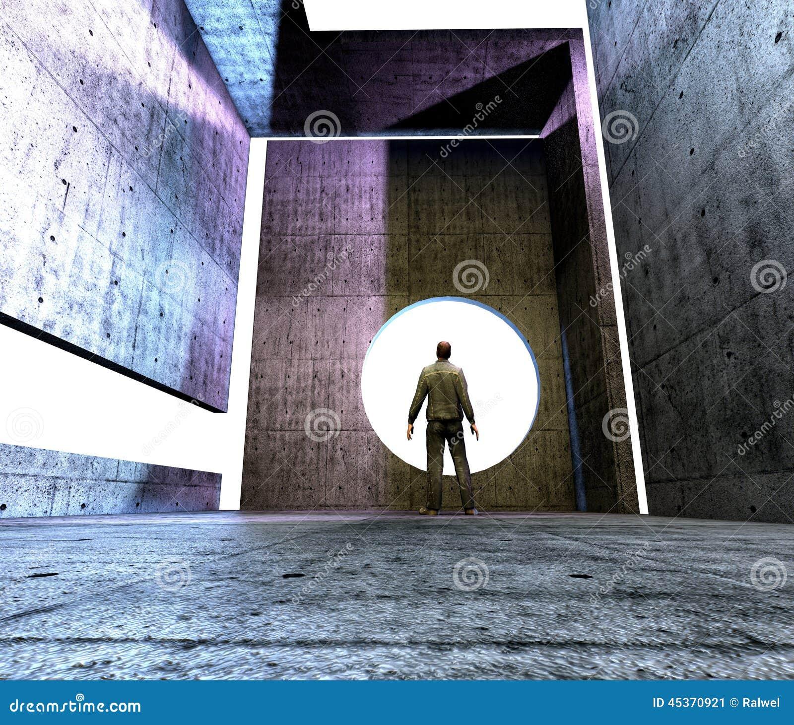 Homme dans la pièce abstraite avant