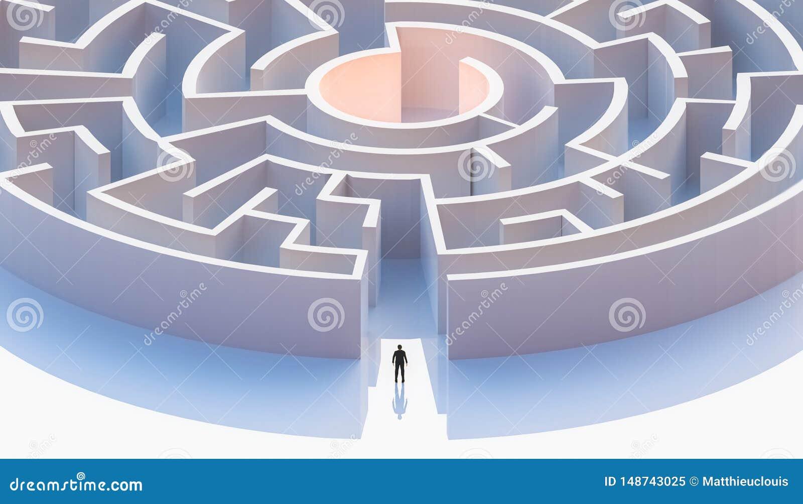 Homme dans le costume se tenant devant une entrée circulaire ou concentrique de labyrinthe a?rien Résumé et conceptuel