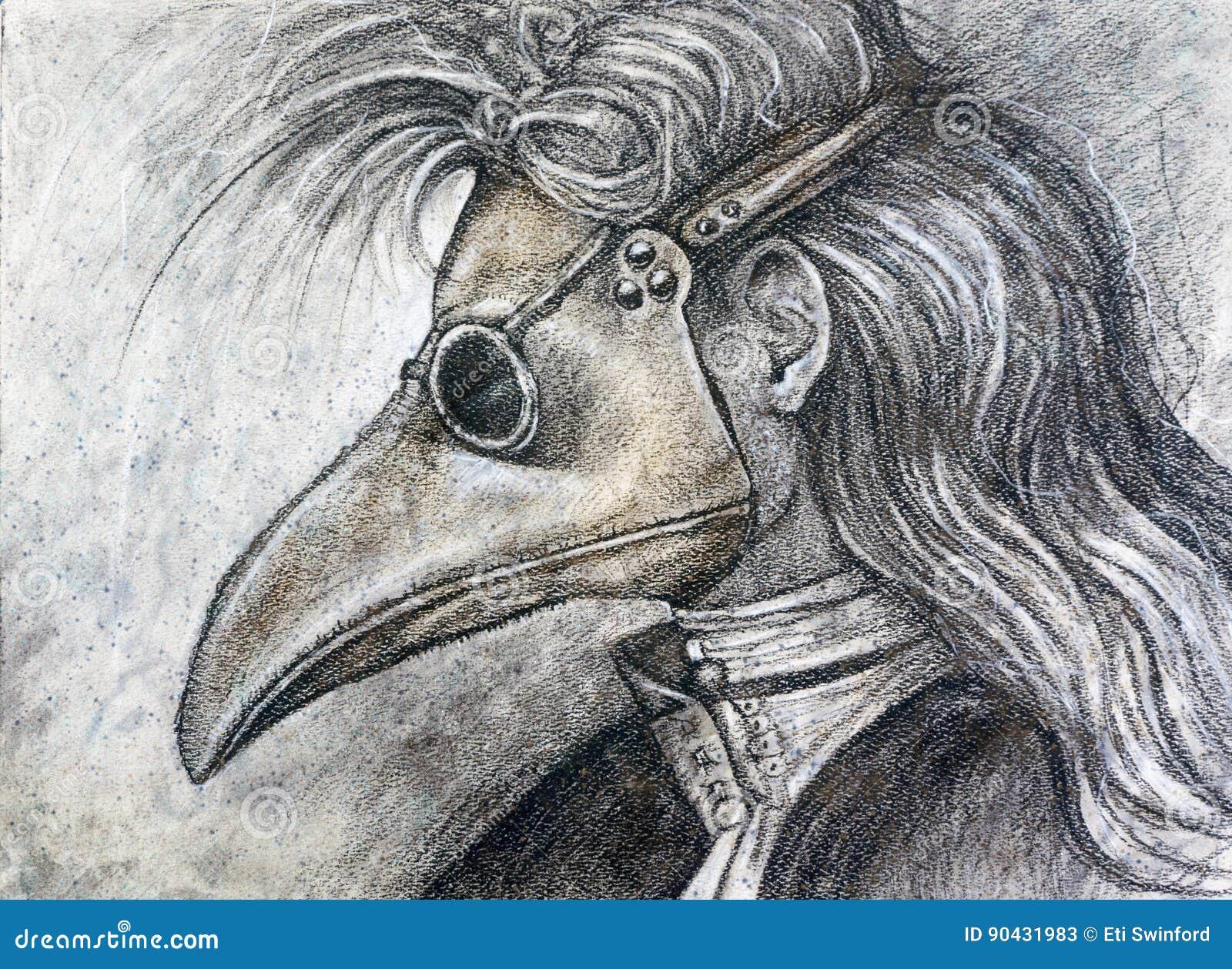 Homme Dans Le Dessin De Fusain De Masque De Peste Illustration Stock ...