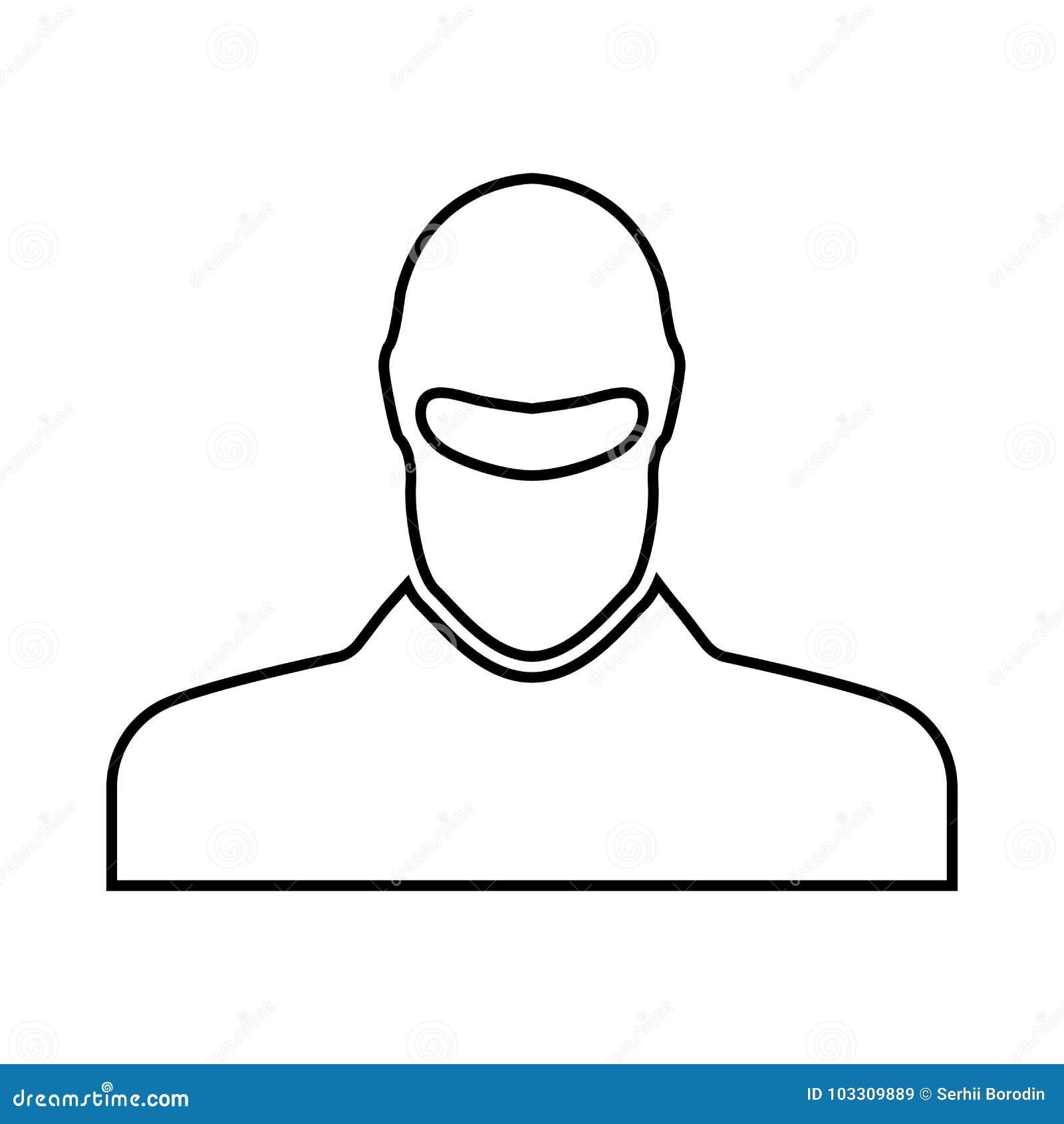 Homme dans le passe-montagne c est icône noire