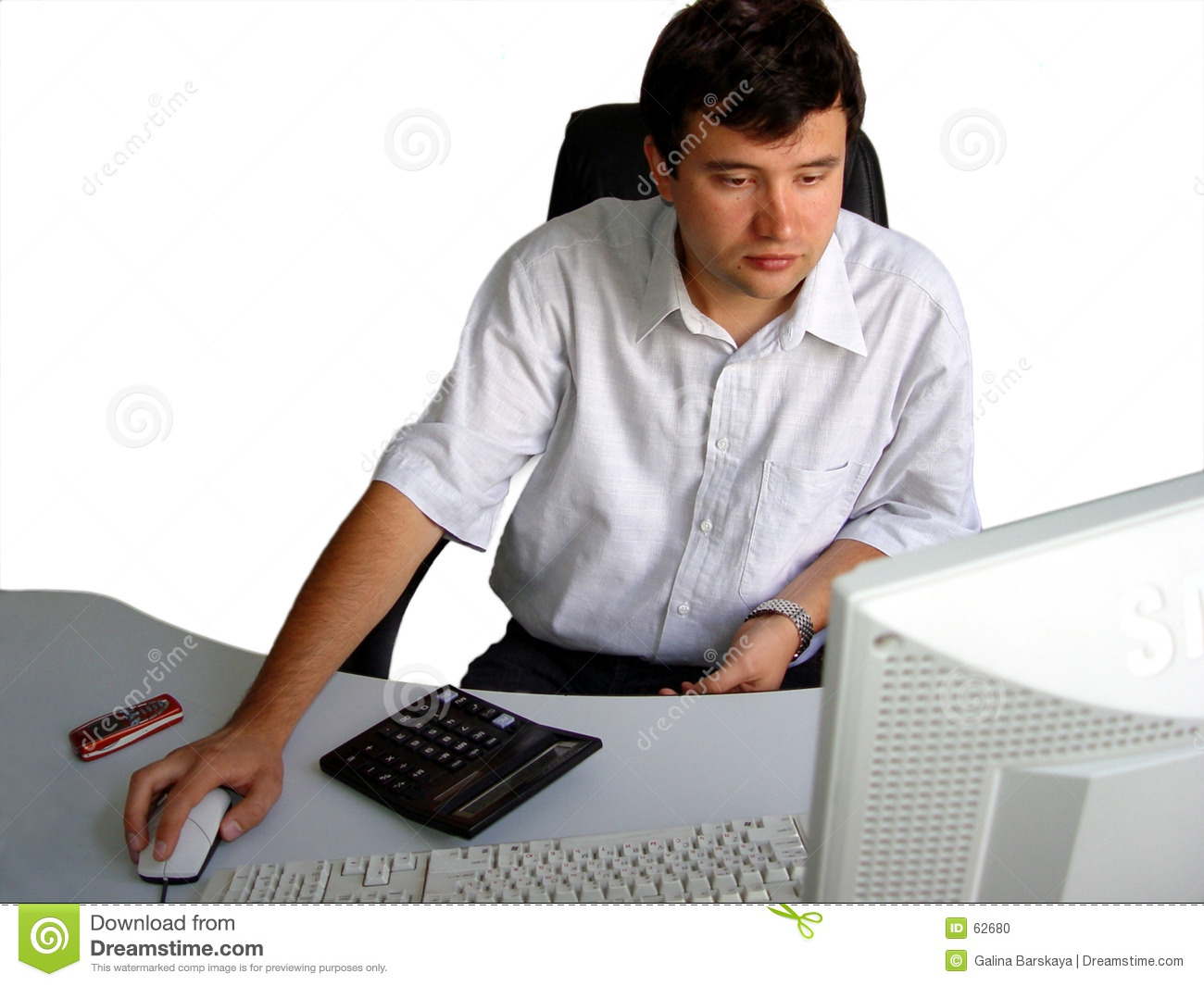 Homme dans son bureau photo stock image 62680 for Bureau homme